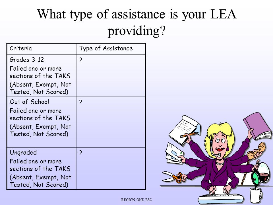 REGION ONE ESC What type of assistance is your LEA providing? CriteriaType of Assistance Grades 3-12 Failed one or more sections of the TAKS (Absent,
