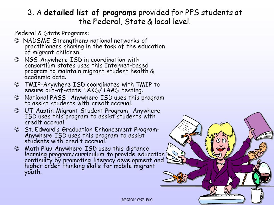 REGION ONE ESC 3. A detailed list of programs provided for PFS students at the Federal, State & local level. Federal & State Programs: NADSME-Strength