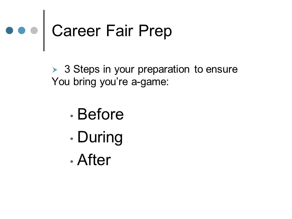 Career Fair Prep  3 Steps in your preparation to ensure You bring you're a-game: Before During After