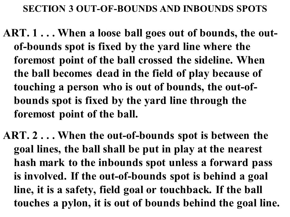 SECTION 3 OUT-OF-BOUNDS AND INBOUNDS SPOTS ART. 1...