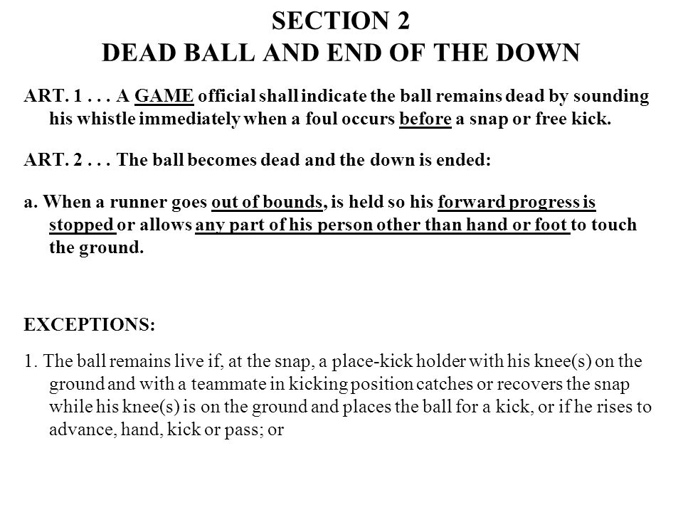 SECTION 2 DEAD BALL AND END OF THE DOWN ART. 1...