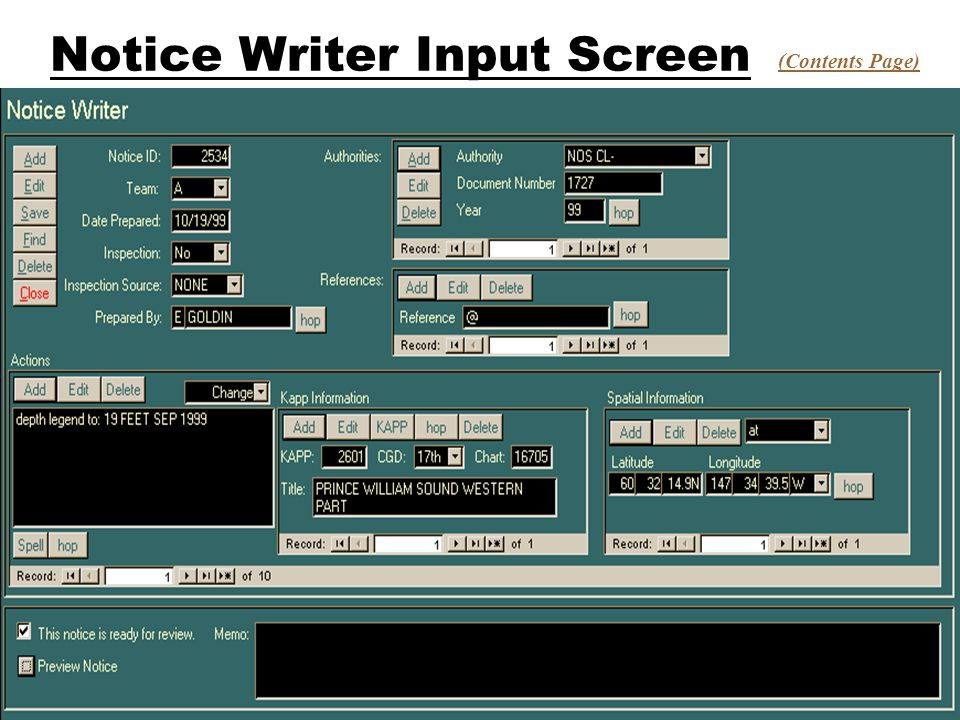 Notice Writer Input Screen (Contents Page)