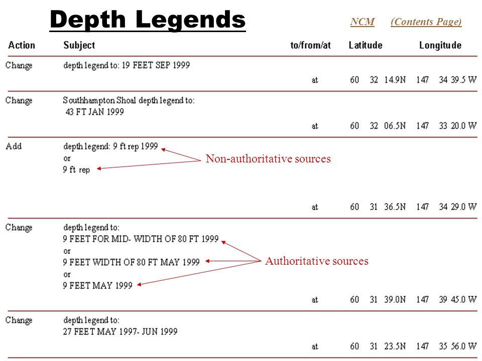 Depth Legends (Contents Page)NCM Non-authoritative sources Authoritative sources
