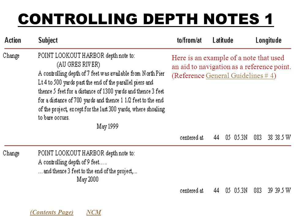CONTROLLING DEPTH NOTES 1 (Contents Page)NCM Here is an example of a note that used an aid to navigation as a reference point.