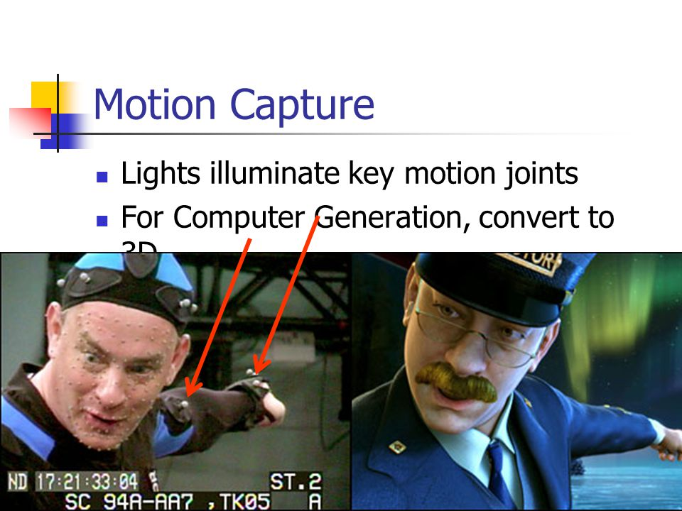 Motion Capture Lights illuminate key motion joints For Computer Generation, convert to 3D