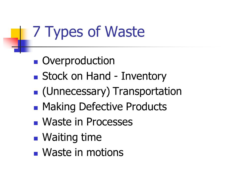 7 Types of Waste Overproduction Stock on Hand - Inventory (Unnecessary) Transportation Making Defective Products Waste in Processes Waiting time Waste