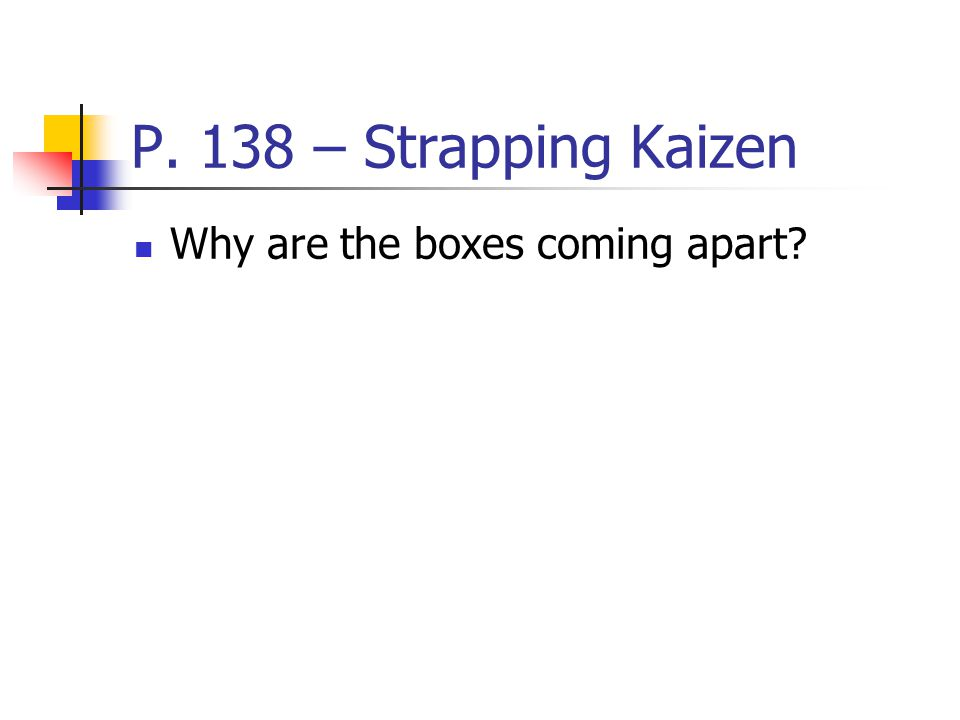 P. 138 – Strapping Kaizen Why are the boxes coming apart?