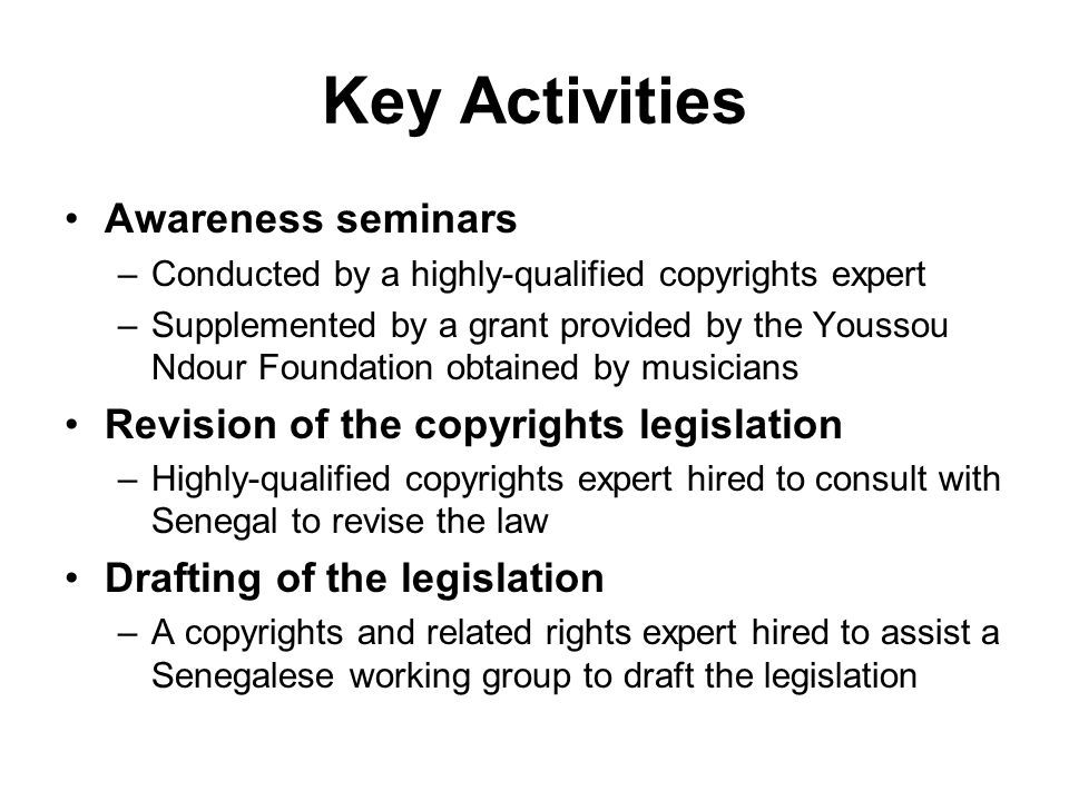 Key Activities Awareness seminars –Conducted by a highly-qualified copyrights expert –Supplemented by a grant provided by the Youssou Ndour Foundation obtained by musicians Revision of the copyrights legislation –Highly-qualified copyrights expert hired to consult with Senegal to revise the law Drafting of the legislation –A copyrights and related rights expert hired to assist a Senegalese working group to draft the legislation