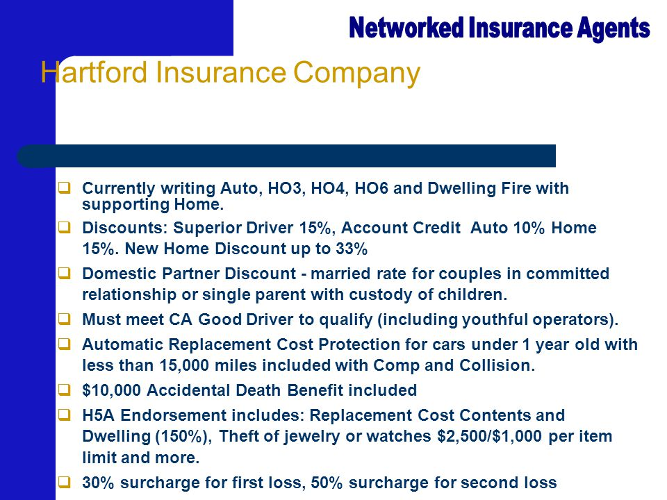 Hartford Insurance Company  Currently writing Auto, HO3, HO4, HO6 and Dwelling Fire with supporting Home.  Discounts: Superior Driver 15%, Account C