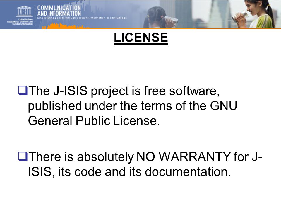 LICENSE  The J-ISIS project is free software, published under the terms of the GNU General Public License.