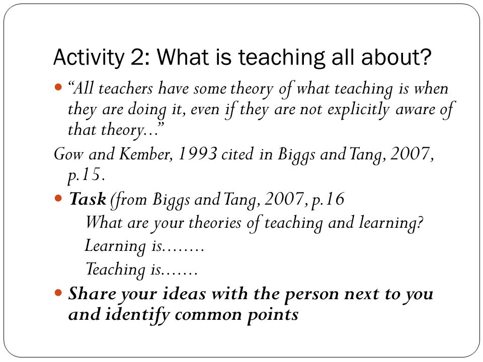 "Activity 2: What is teaching all about? ""All teachers have some theory of what teaching is when they are doing it, even if they are not explicitly awa"