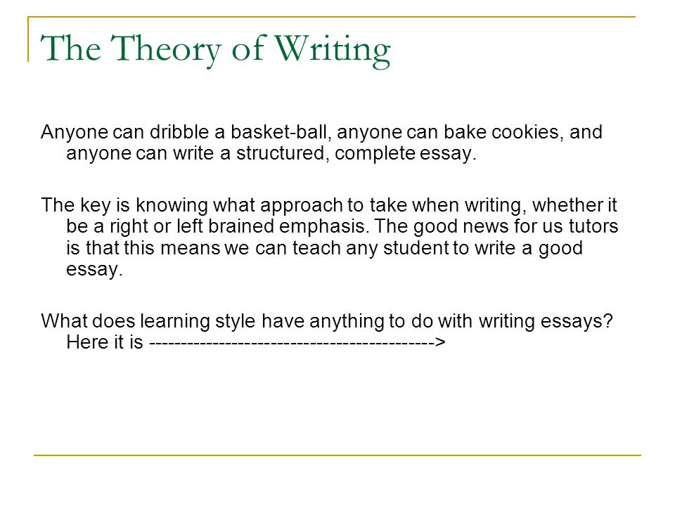 The Theory of Writing Anyone can dribble a basket-ball, anyone can bake cookies, and anyone can write a structured, complete essay. The key is knowing