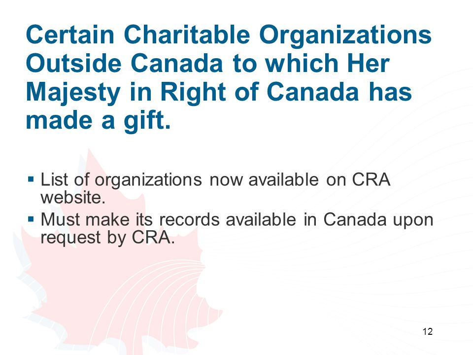 12 Certain Charitable Organizations Outside Canada to which Her Majesty in Right of Canada has made a gift.