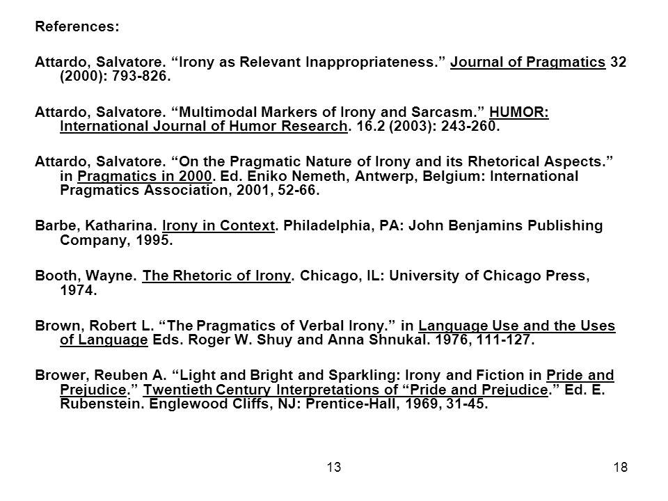 """1318 References: Attardo, Salvatore. """"Irony as Relevant Inappropriateness."""" Journal of Pragmatics 32 (2000): 793-826. Attardo, Salvatore. """"Multimodal"""