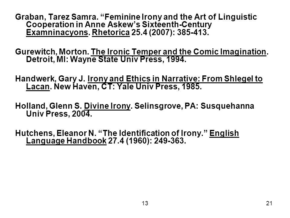 "1321 Graban, Tarez Samra. ""Feminine Irony and the Art of Linguistic Cooperation in Anne Askew's Sixteenth-Century Examninacyons. Rhetorica 25.4 (2007)"