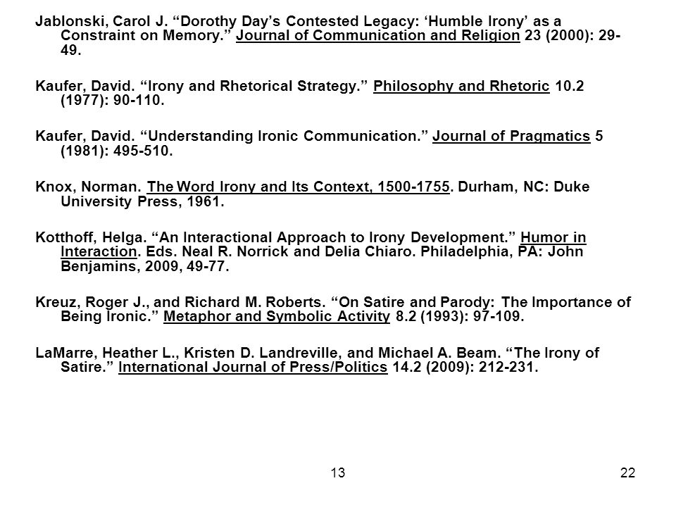 """1322 Jablonski, Carol J. """"Dorothy Day's Contested Legacy: 'Humble Irony' as a Constraint on Memory."""" Journal of Communication and Religion 23 (2000):"""