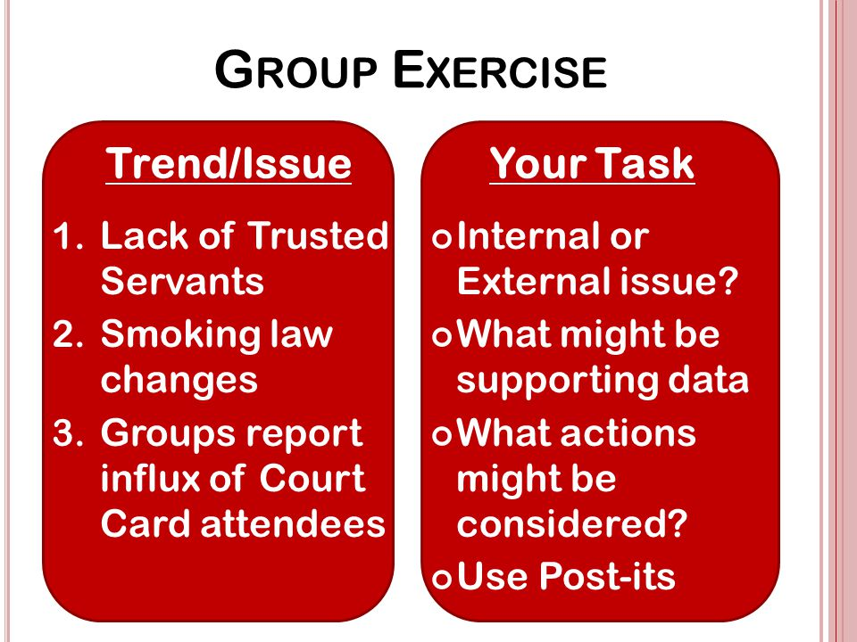 G ROUP E XERCISE 1. Lack of Trusted Servants 2. Smoking law changes 3.