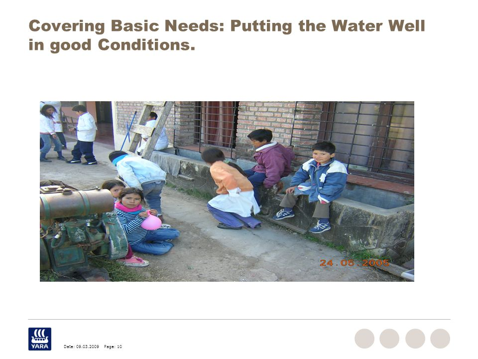 Date: 09.03.2009 Page: 10 Covering Basic Needs: Putting the Water Well in good Conditions.