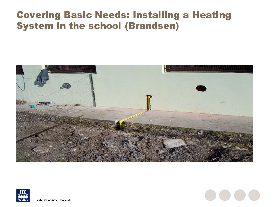 Date: 09.03.2009 Page: 11 Covering Basic Needs: Installing a Heating System in the school (Brandsen)