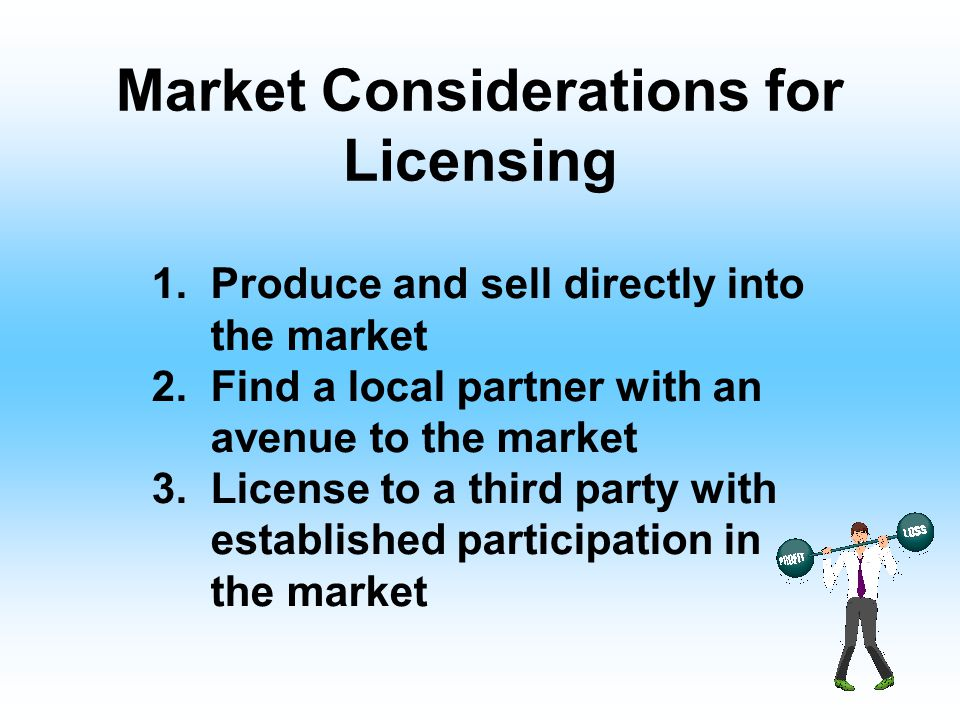 Market Considerations for Licensing 1.Produce and sell directly into the market 2.