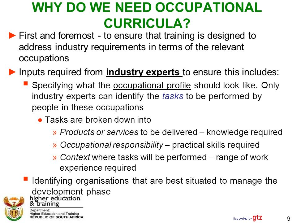 WHY DO WE NEED OCCUPATIONAL CURRICULA.