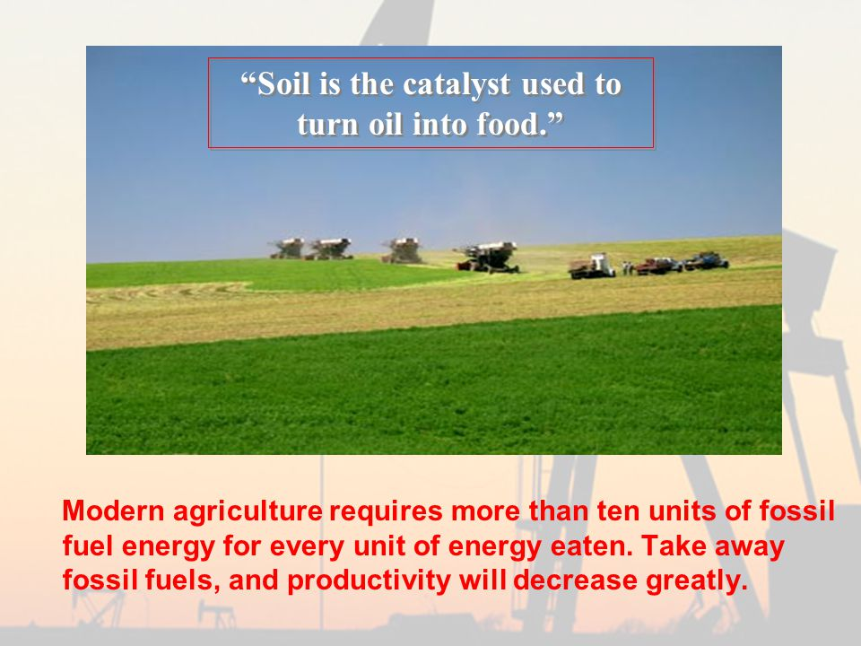 Modern agriculture requires more than ten units of fossil fuel energy for every unit of energy eaten.