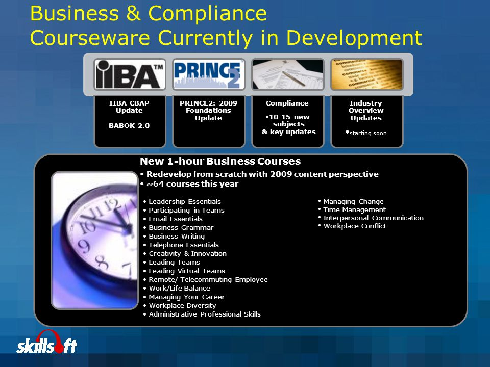 Business & Compliance Courseware Currently in Development IIBA CBAP Update BABOK 2.0 PRINCE2: 2009 Foundations Update Compliance 10-15 new subjects & key updates Industry Overview Updates * starting soon New 1-hour Business Courses Redevelop from scratch with 2009 content perspective ~64 courses this year Leadership Essentials Participating in Teams Email Essentials Business Grammar Business Writing Telephone Essentials Creativity & Innovation Leading Teams Leading Virtual Teams Remote/ Telecommuting Employee Work/Life Balance Managing Your Career Workplace Diversity Administrative Professional Skills Managing Change Time Management Interpersonal Communication Workplace Conflict