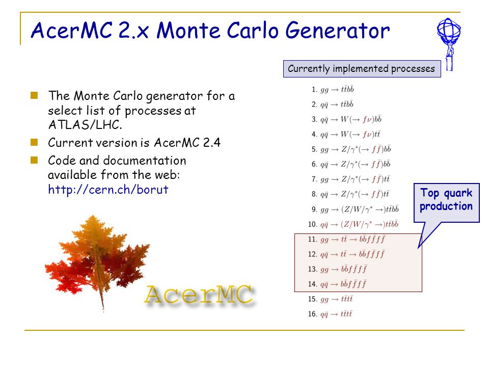 AcerMC 2.x Monte Carlo Generator The Monte Carlo generator for a select list of processes at ATLAS/LHC. Current version is AcerMC 2.4 Code and documen