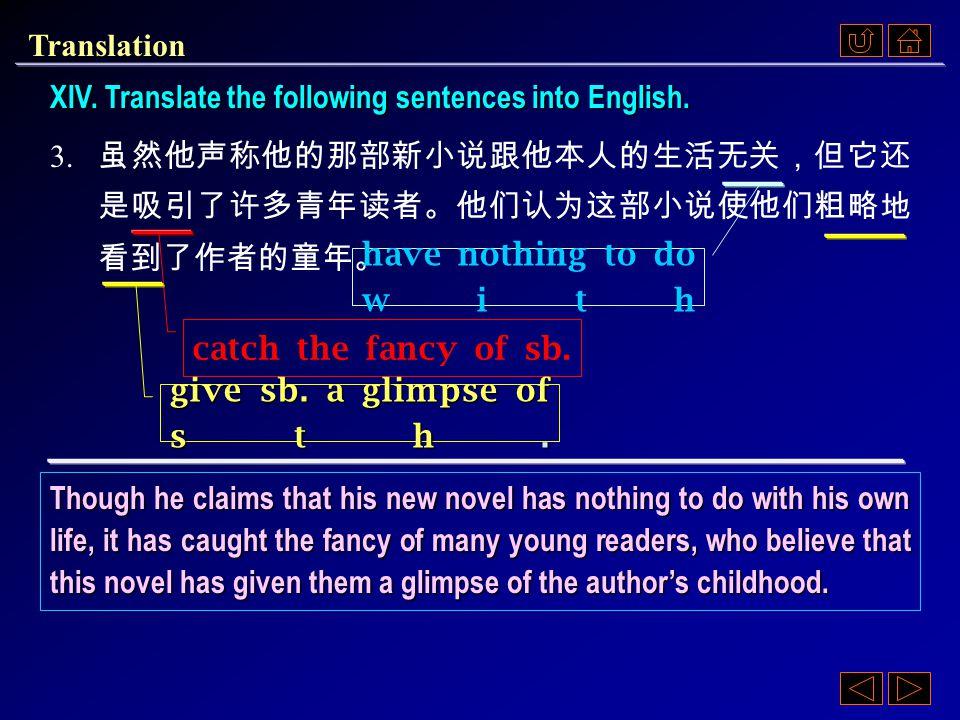 XIV. Translate the following sentences into English.