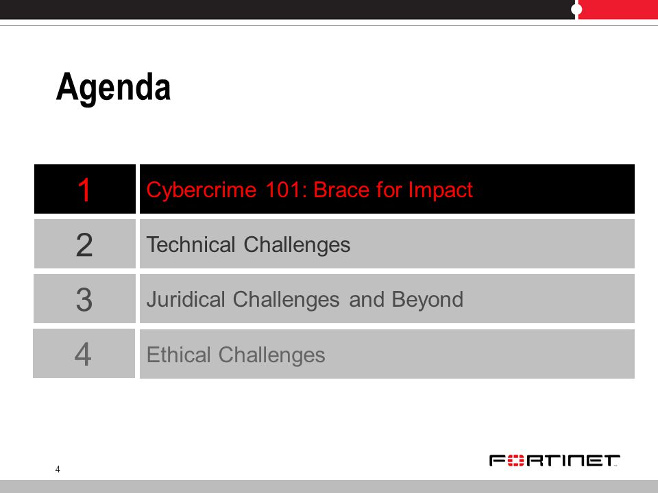 4 Agenda Technical Challenges Cybercrime 101: Brace for Impact 2 1 3 Juridical Challenges and Beyond 4 Ethical Challenges