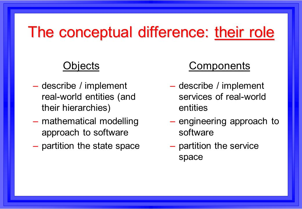 The conceptual difference: their role Objects –describe / implement real-world entities (and their hierarchies) –mathematical modelling approach to so