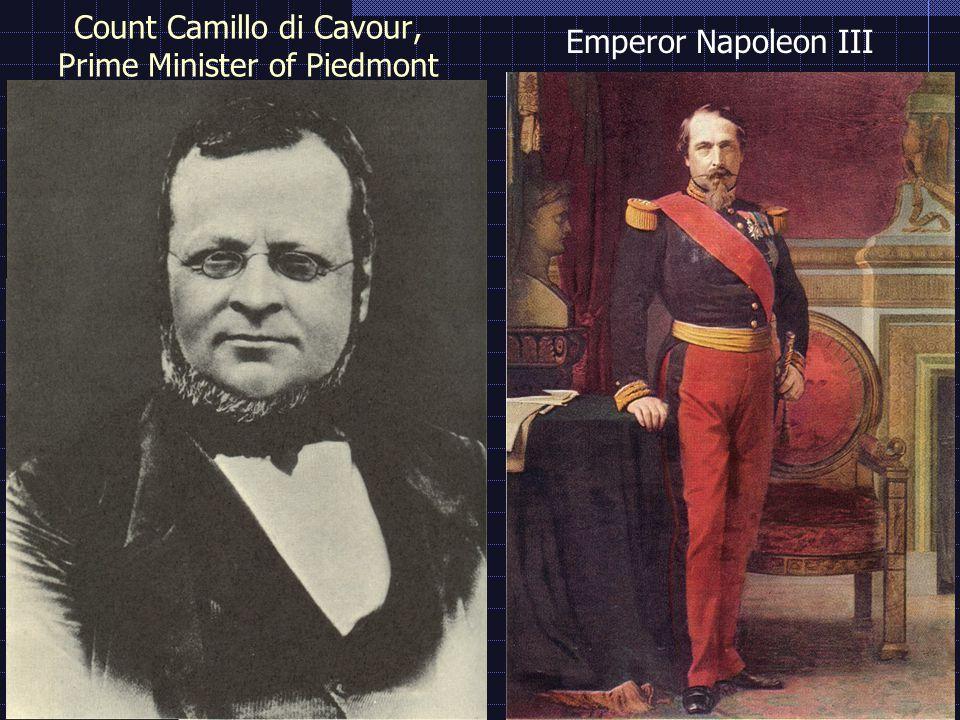 Count Camillo di Cavour, Prime Minister of Piedmont Emperor Napoleon III
