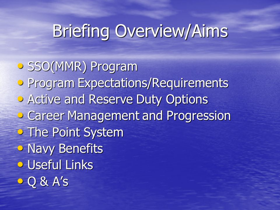 Briefing Overview/Aims SSO(MMR) Program SSO(MMR) Program Program Expectations/Requirements Program Expectations/Requirements Active and Reserve Duty O