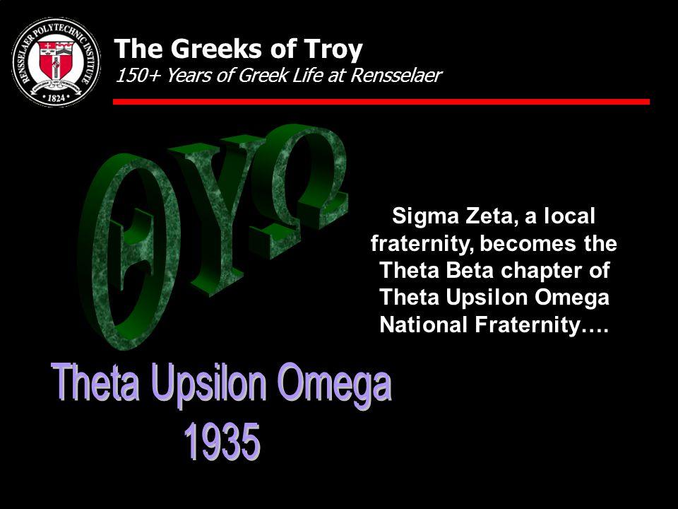 Sigma Zeta, a local fraternity, becomes the Theta Beta chapter of Theta Upsilon Omega National Fraternity….