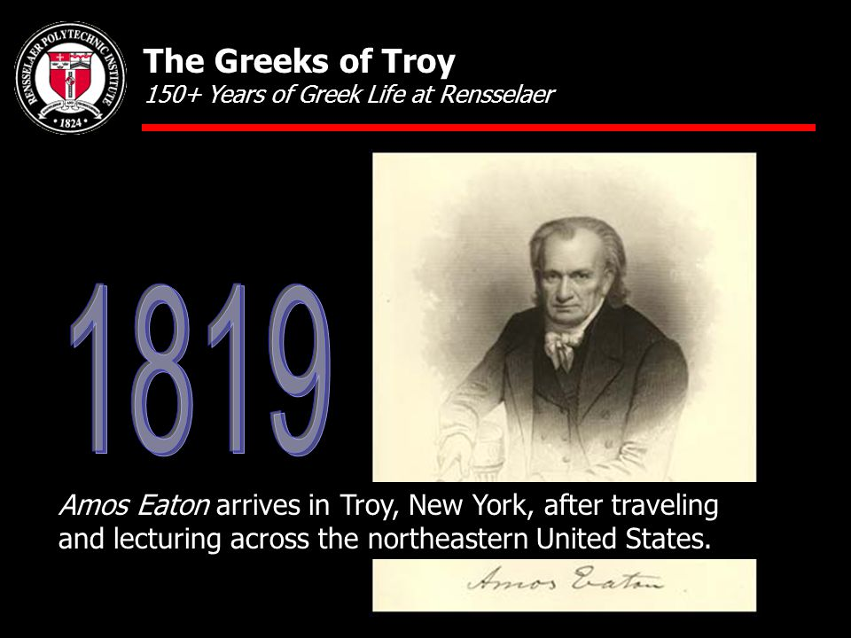 Amos Eaton arrives in Troy, New York, after traveling and lecturing across the northeastern United States.