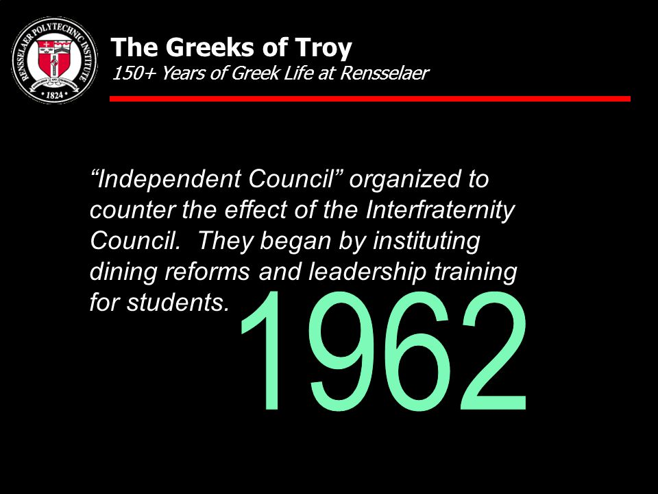 """Independent Council"" organized to counter the effect of the Interfraternity Council. They began by instituting dining reforms and leadership training"
