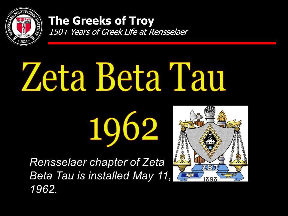 Rensselaer chapter of Zeta Beta Tau is installed May 11, 1962.