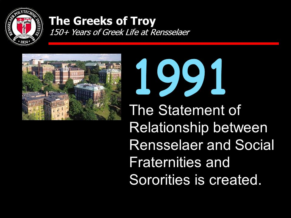 The Statement of Relationship between Rensselaer and Social Fraternities and Sororities is created.