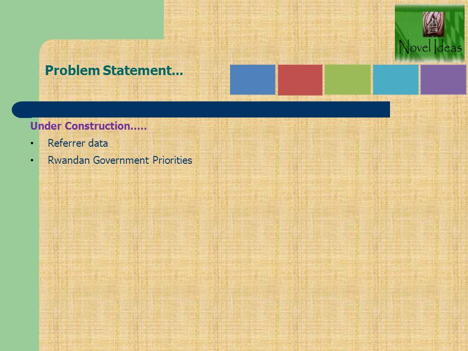 Problem Statement... Under Construction….. Referrer data Rwandan Government Priorities