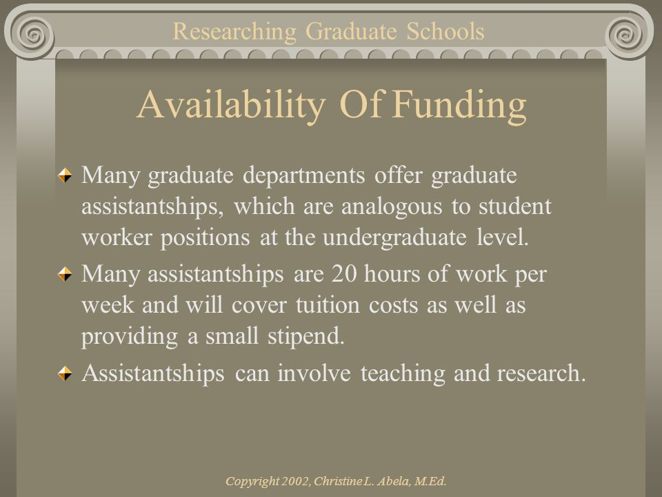 Copyright 2002, Christine L. Abela, M.Ed. Availability Of Funding Many graduate departments offer graduate assistantships, which are analogous to stud