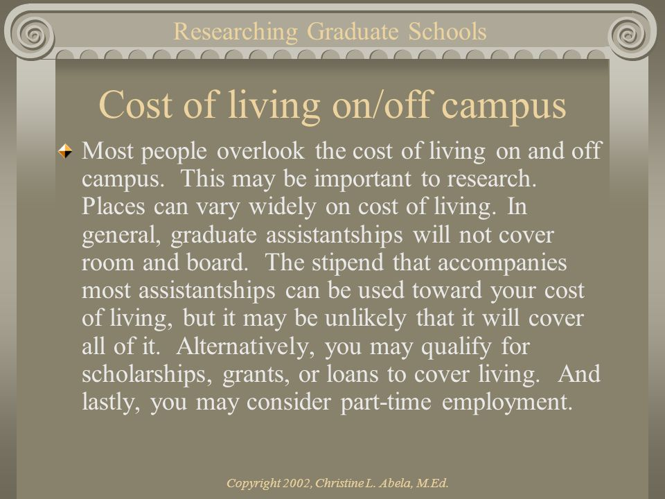 Copyright 2002, Christine L. Abela, M.Ed. Cost of living on/off campus Most people overlook the cost of living on and off campus. This may be importan