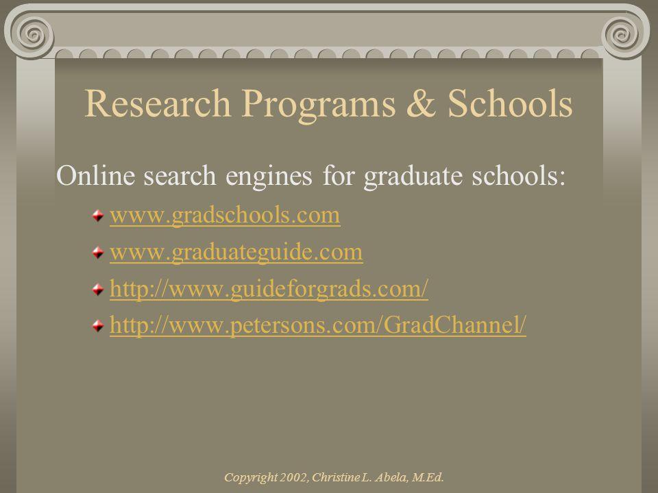 Copyright 2002, Christine L. Abela, M.Ed. Part II APPLYING FOR GRADUATE SCHOOL