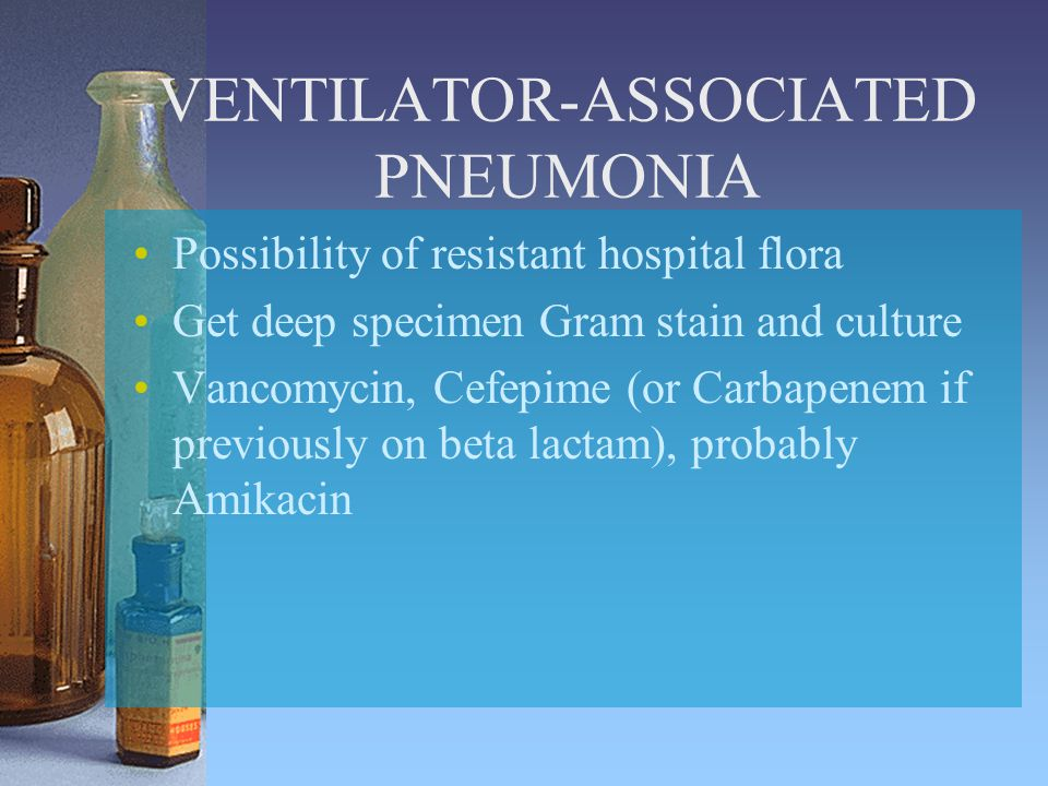 VENTILATOR-ASSOCIATED PNEUMONIA Possibility of resistant hospital flora Get deep specimen Gram stain and culture Vancomycin, Cefepime (or Carbapenem if previously on beta lactam), probably Amikacin