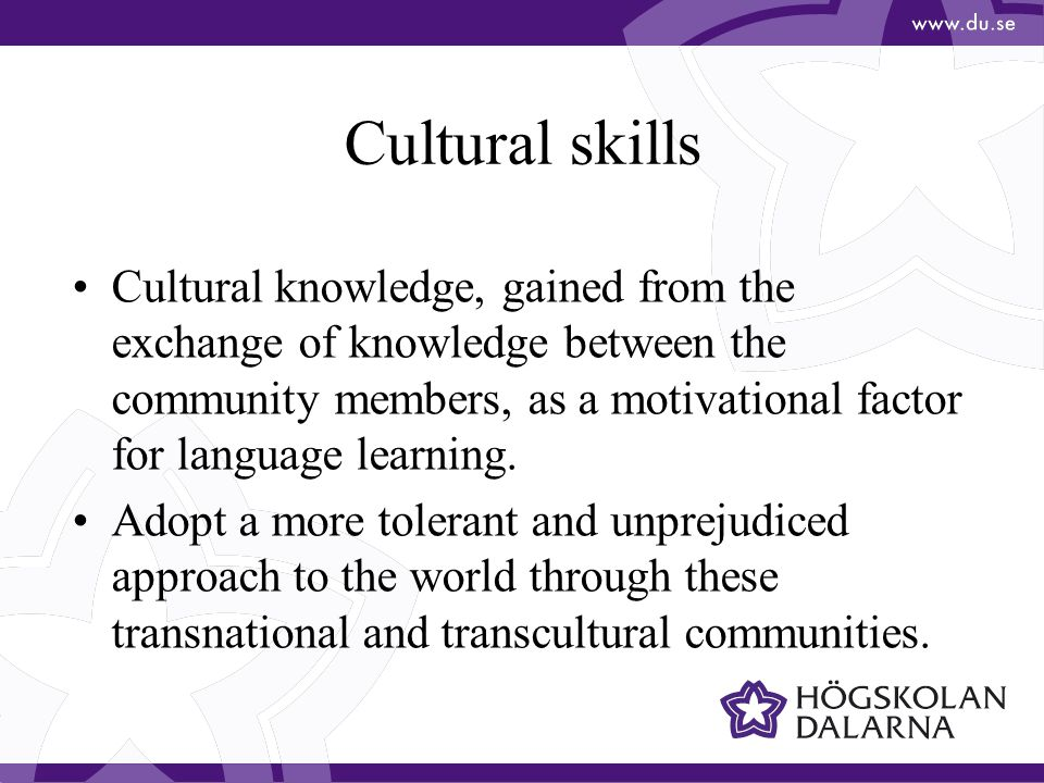 Cultural skills Cultural knowledge, gained from the exchange of knowledge between the community members, as a motivational factor for language learning.