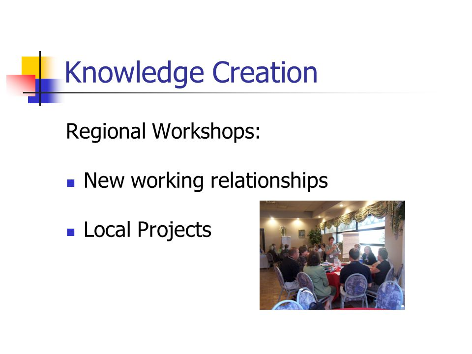 Knowledge Creation Regional Workshops: New working relationships Local Projects