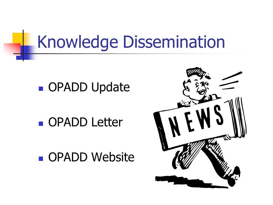 Knowledge Dissemination OPADD Update OPADD Letter OPADD Website