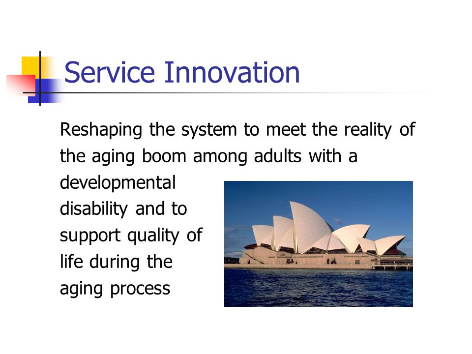 Service Innovation Reshaping the system to meet the reality of the aging boom among adults with a developmental disability and to support quality of l