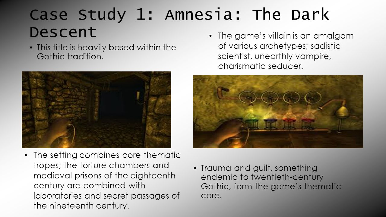 Case Study 1: Amnesia: The Dark Descent This title is heavily based within the Gothic tradition.