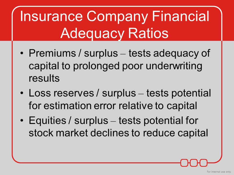 Insurance Company Financial Adequacy Ratios Premiums / surplus – tests adequacy of capital to prolonged poor underwriting results Loss reserves / surplus – tests potential for estimation error relative to capital Equities / surplus – tests potential for stock market declines to reduce capital