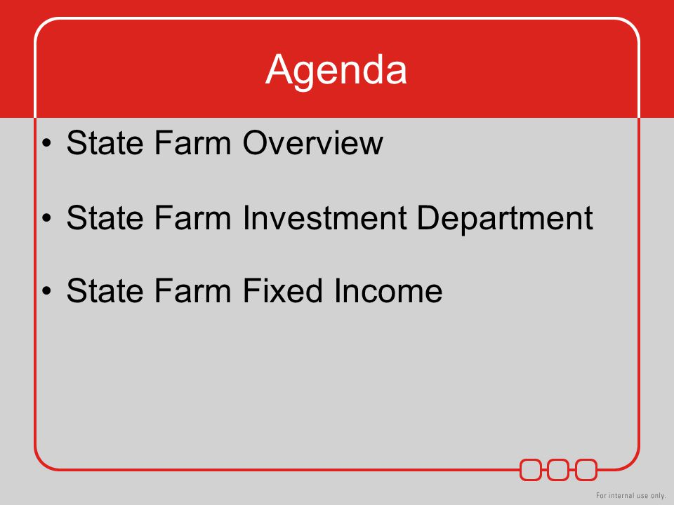 Agenda State Farm Overview State Farm Investment Department State Farm Fixed Income